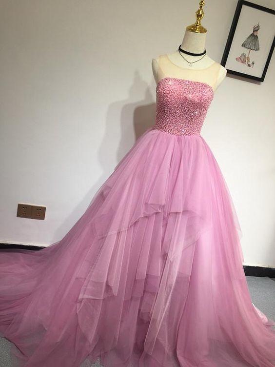 Elegant Tulle Beading Long Prom Dress, Sweet 16 Dresses, Formal Evening Gowns