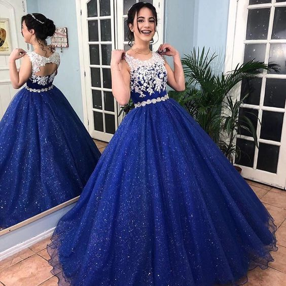 Sparkly Royal Blue Ball Gown Lace Quinceanera Dresses Vestido 15 Years Dress