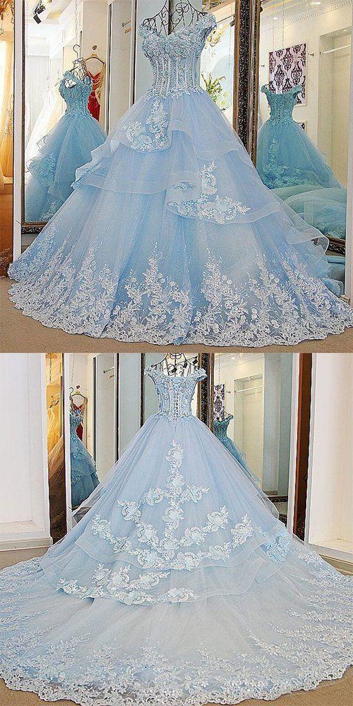 Baby Blue Quince Dresses Off the Shoulder 3D Floral Sweet 16 Dress   ML7007
