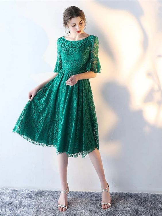 Short Sleeves Knee-Length Scoop Lace Sweet 16 Dress  ML7008