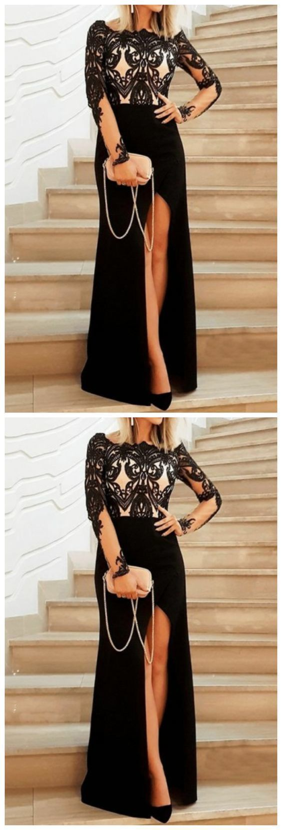 Dignified Scoop Long Sleeves Black Split Prom Dress with Appliques 2957