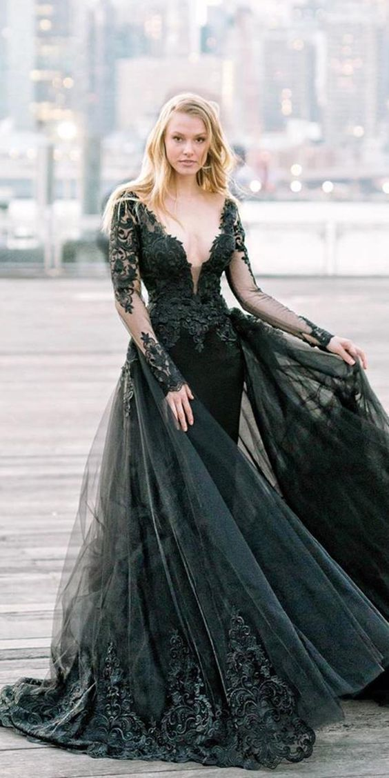 Deep V Neck Long Prom Dress , Black Prom Dress With Lace 2960