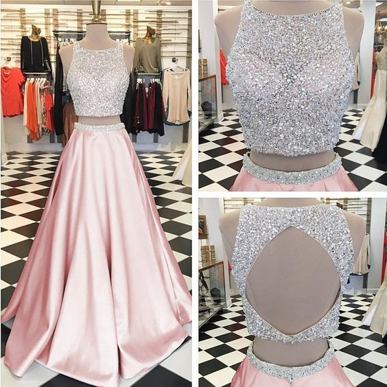 Pink Satin Two Piece Prom Dresses Ball Gowns Keyhole Back Evening Dress  ML7010