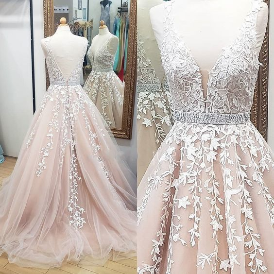 Princess A-line ivory lace long prom dress with beaded sash and open back