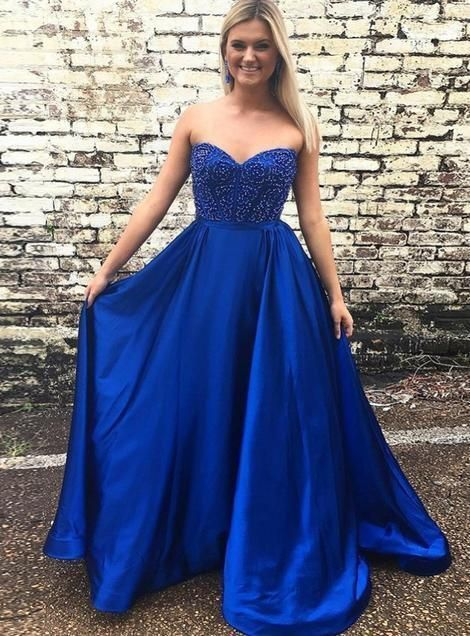 Royal Blue Satin Evening Party Gown, Sexy Beaded Long Prom Dress, Dance Dress,