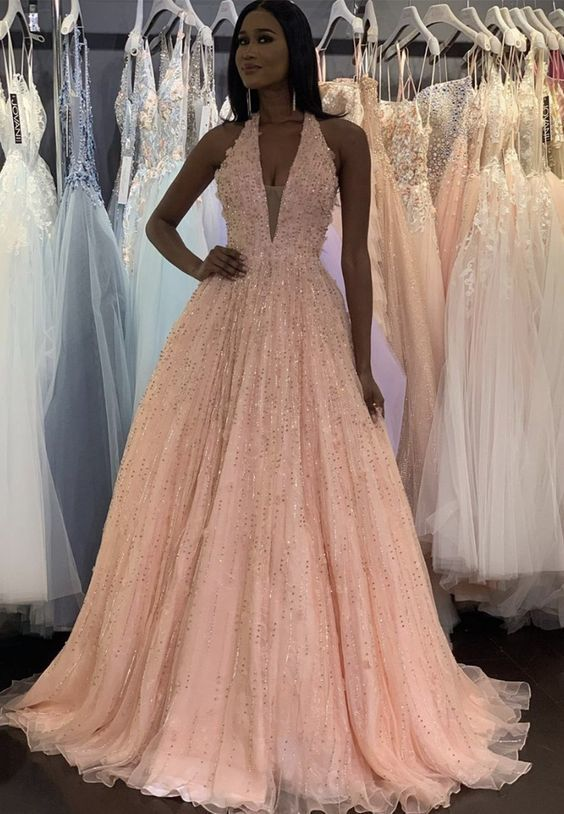 Pink tulle sequins long prom dress evening dress  ML7017