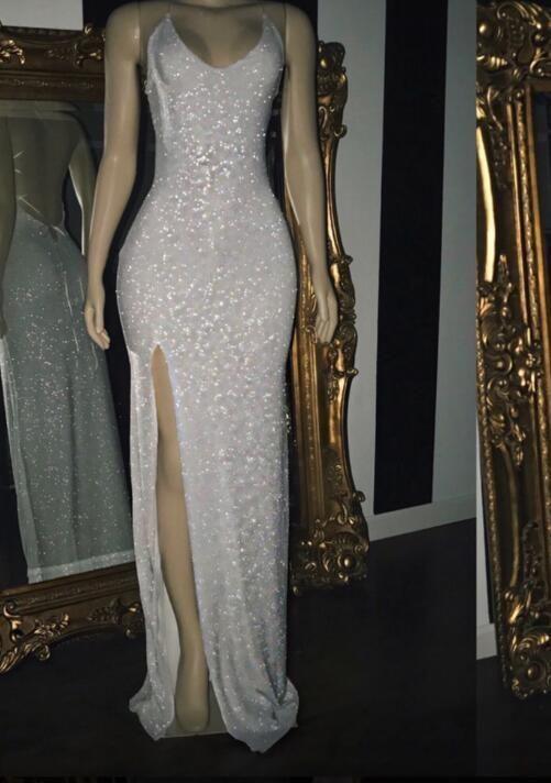 2020 White Halter Sequins Prom Dresses  ML7019