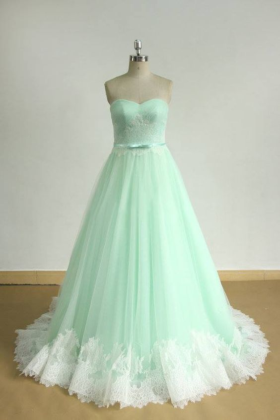 Elegant Green/Pink Tulle Formal Prom Dresses with Lace, Dance Dress, Long