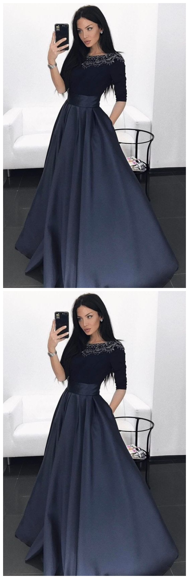 Navy Blue Prom Dress with Beading Pockets, Long Prom Dress with Sleeves