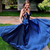 Long Blue Prom Dress, A-Line Simple Prom Dresses, Backless Prom Dress