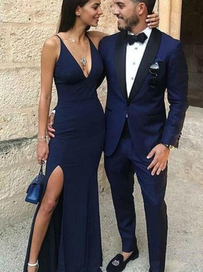 Navy Blue Prom Dresses, Slit Side Prom Dresses, Simple Prom Dresses