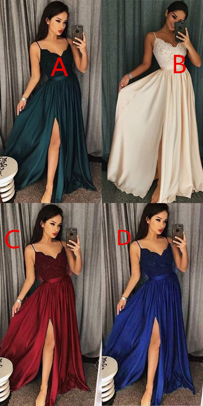 Chic A line Prom Dresses Spaghetti Straps Lace Long Prom Dress Evening Dresses