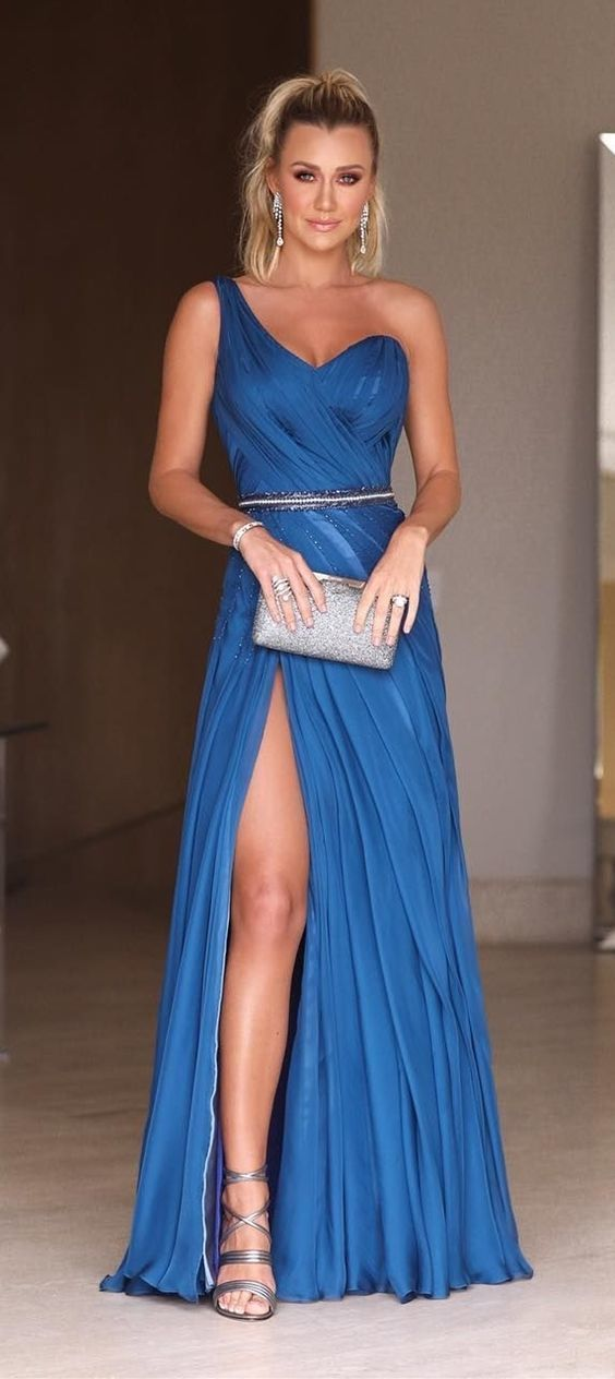 A-Line One-Shoulder Floor-Length Blue Ruched Prom Evening Dress with Split,2978