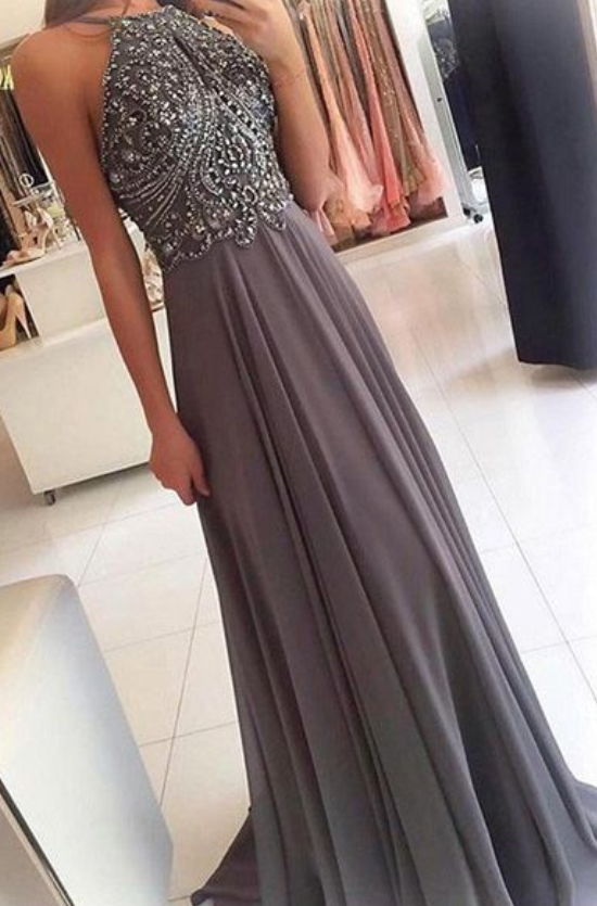 Chiffon Halter Grey Long Prom Dresses with Beading, Prom dress for teens,Party
