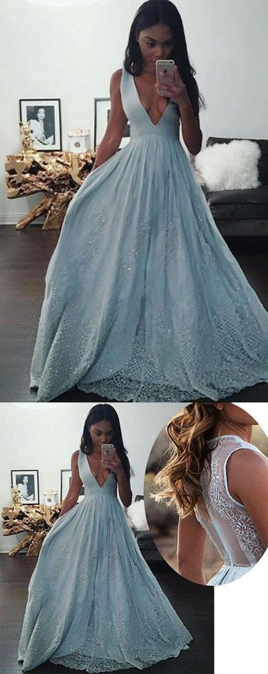 Blue A-line Sleeveless Deep V-neck Long Prom Dresses, Formal Dress with Lace