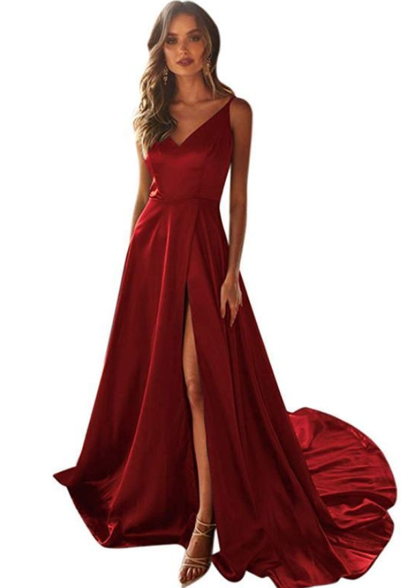 Satin Burgundy Prom Dress with Split, A-Line V-Neck Long Prom Dresses