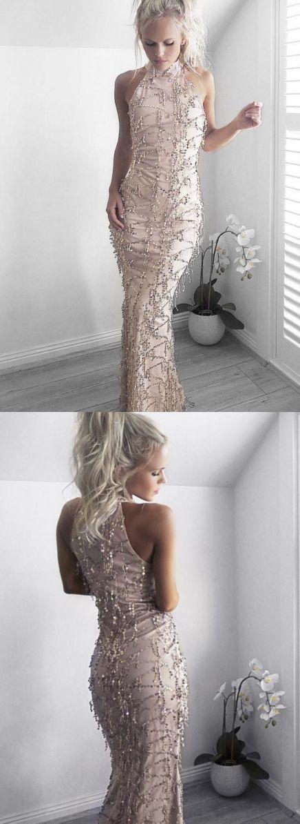 Sheath Champagne Prom Dress, High Neck Prom Dress with Sequin Beading, Elegant