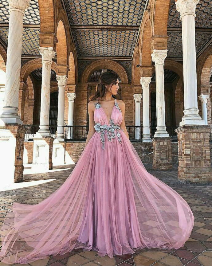 Deep v neck prom dress,tulle party dress,sexy evening dress,2989