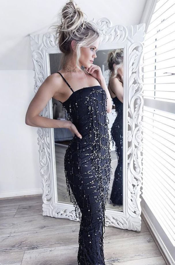 Mermaid Prom Dress with Sequin, Spaghetti Straps Prom Dresses, Fashion Party