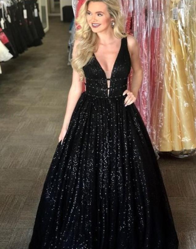 V-Neck Black Prom Dresses, Sleeveless Long Prom Dress with Sequin, Open Back