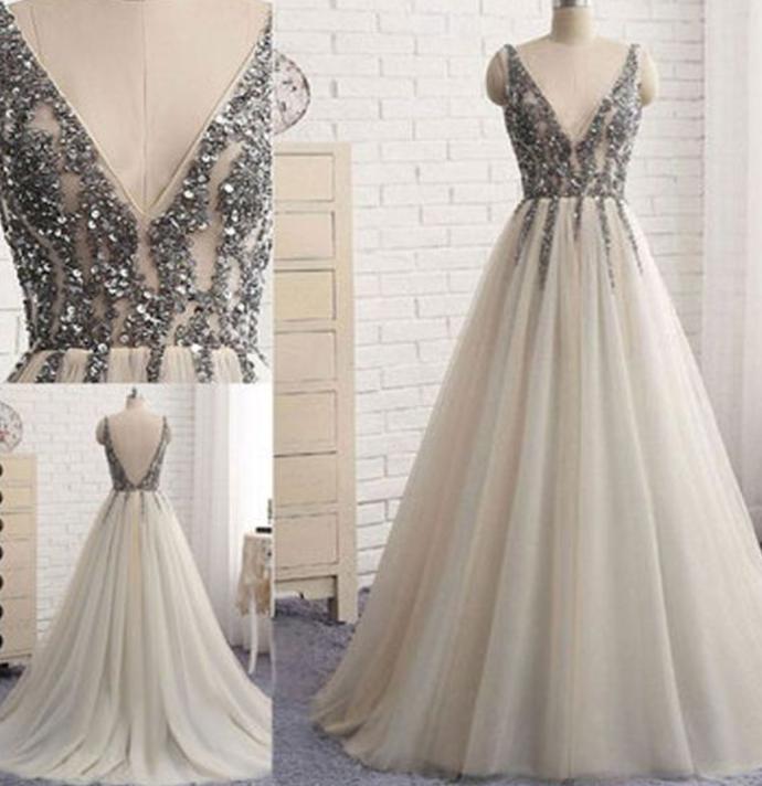 V-neck Sleeveless Silver Prom Dress, Beading Backless Evening Dress