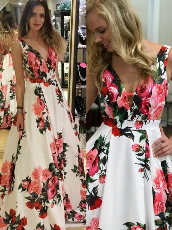 White Floral Prom Dress, V-Neck Backless Prom Dress, Floral Print Party Dress