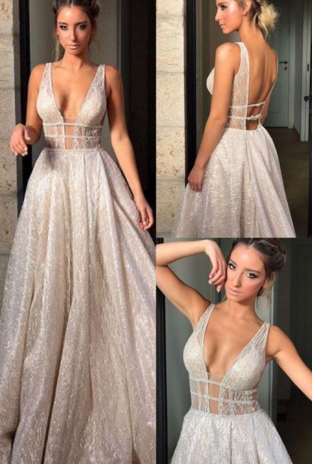 V-Neck Champagne Prom Dress, Backless Evening Dress, Deep V-Neck Long Prom
