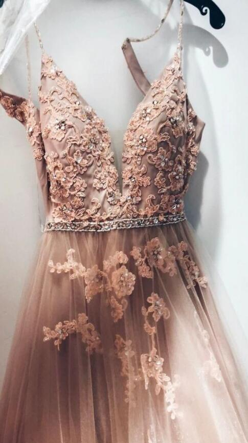 Beautiful Pink Sweetheart Spaghetti Straps Lace Appliques Prom Dress, Long