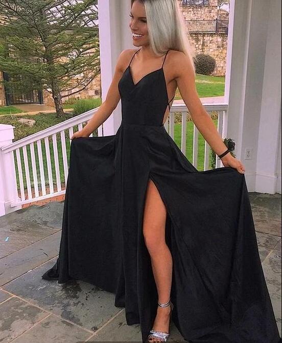 Sexy BlackProm Dress,Chiffon Split Spaghetti Straps Prom Party Dress