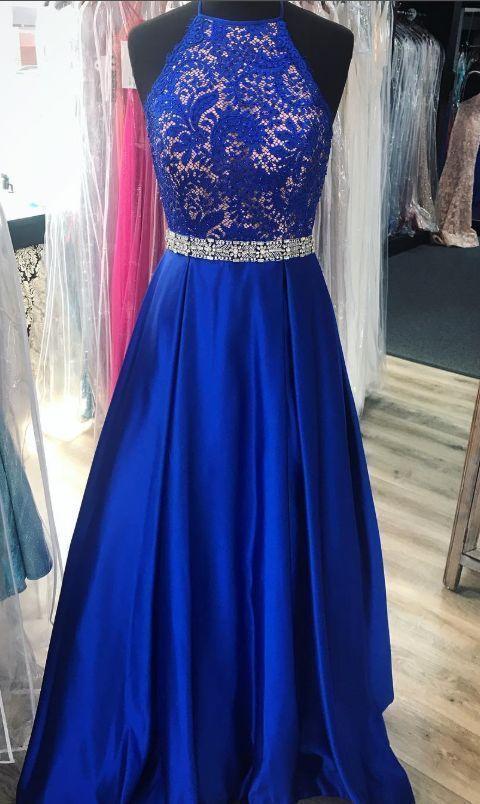Elegant Royal Blue Long Prom Dress   ML7031