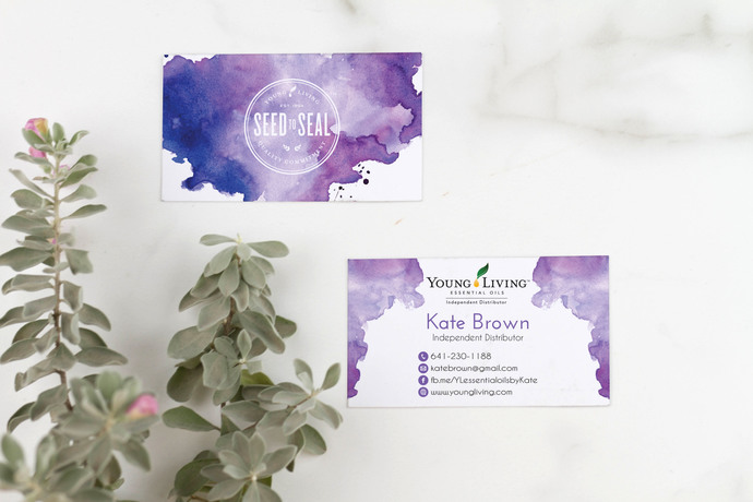 Watercolor Young Living Business Card, Personalized Young Living Cards,