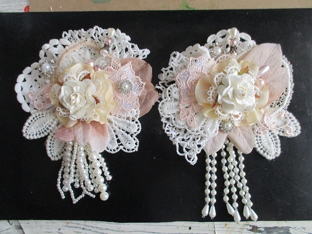 2 x Stunning Handmade Shabby Chic Flowers