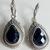 925 Sterling Silver Gemstone Black Spinel ( onyx ) Studded  Dangler Earring