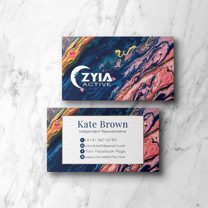 Personalized Zyia Active Business Cards, Marble Zyia Business ZA02
