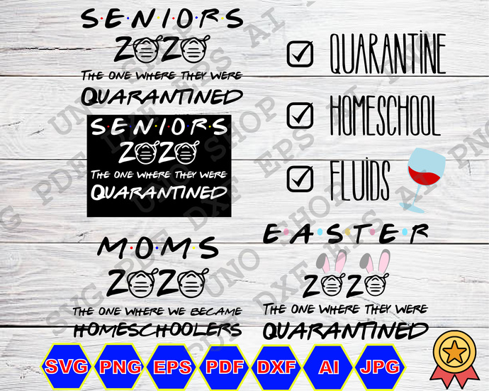 Seniors 2020 The One Where They Are Quarantined Friends Theme SVG, Social