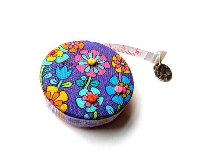 Tape Measure Purple and Orange Flowers Small Retractable Measuring Tape