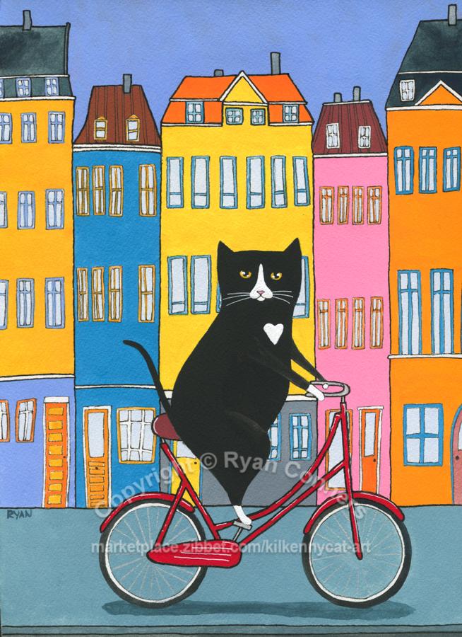 Nyhavn Copenhagen Bicycle Ride Original Cat Folk Art Gouache Painting