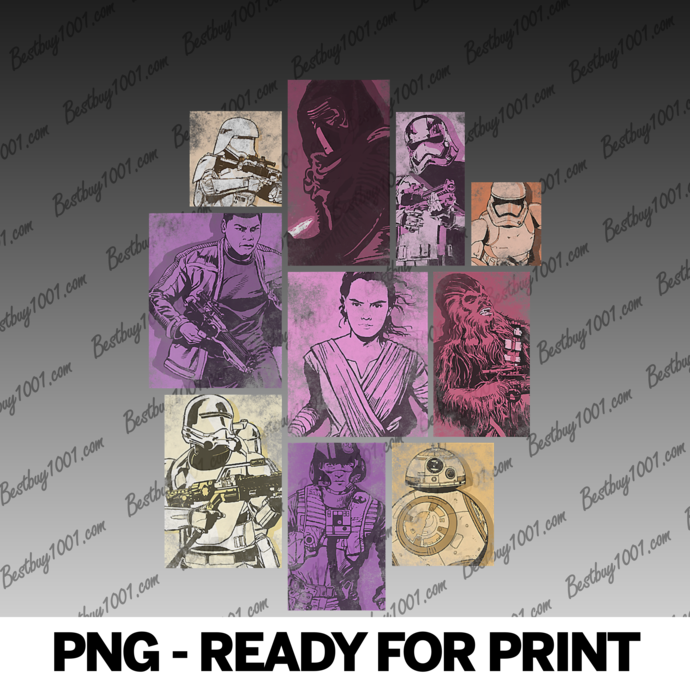 Star Wars The Force Awakens Group Shot Panels png