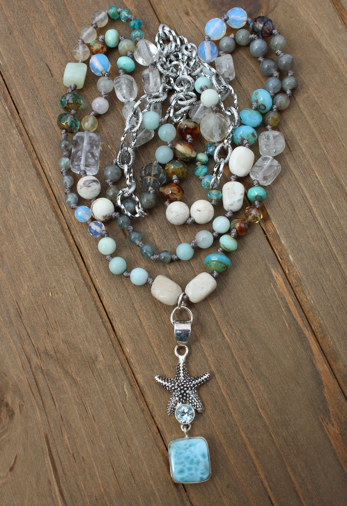 Day at the Beach Long Beaded Necklace with Pendant Larimar Jewelry by KnottedUp