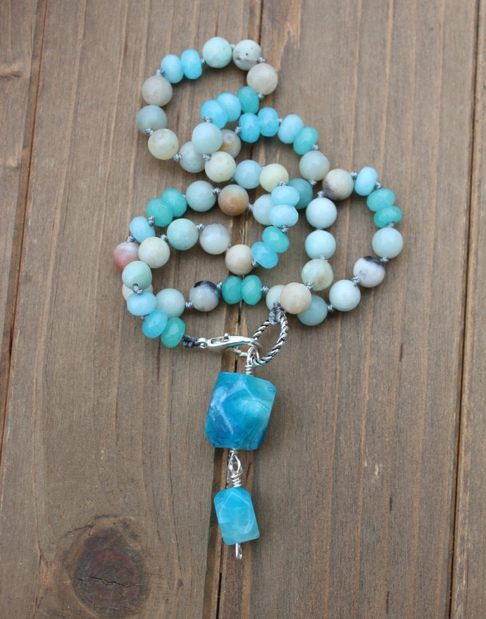 Sea Blue Agate Beaded Necklace with Pendant by KnottedUp Jewelry gifts for her