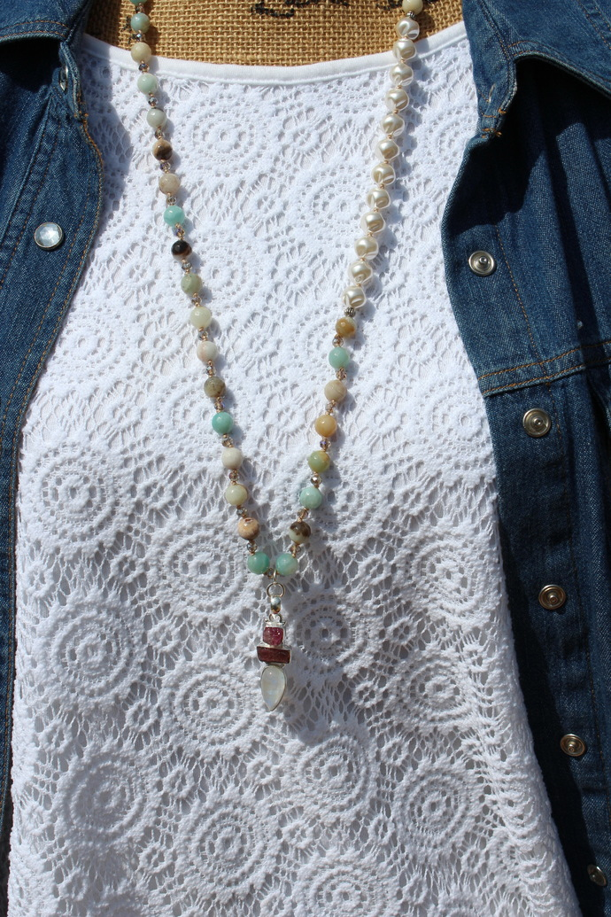 Ethereal Tourmaline & Moonstone Long Beaded Necklace with Pendant by KnottedUp