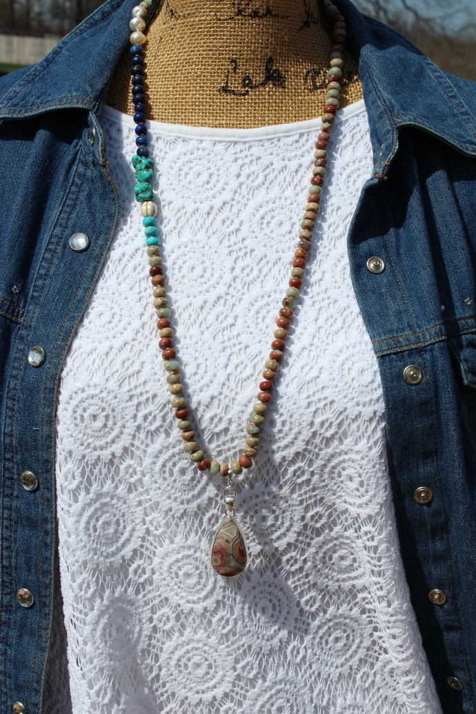 Happiness Jewelry Long beaded Statement Necklace with Pendant jewelry by