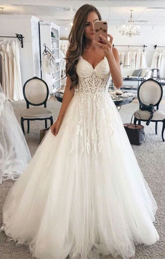 off white wedding dresses 2020 lace appliqué v neck elegant a line cheap bridal