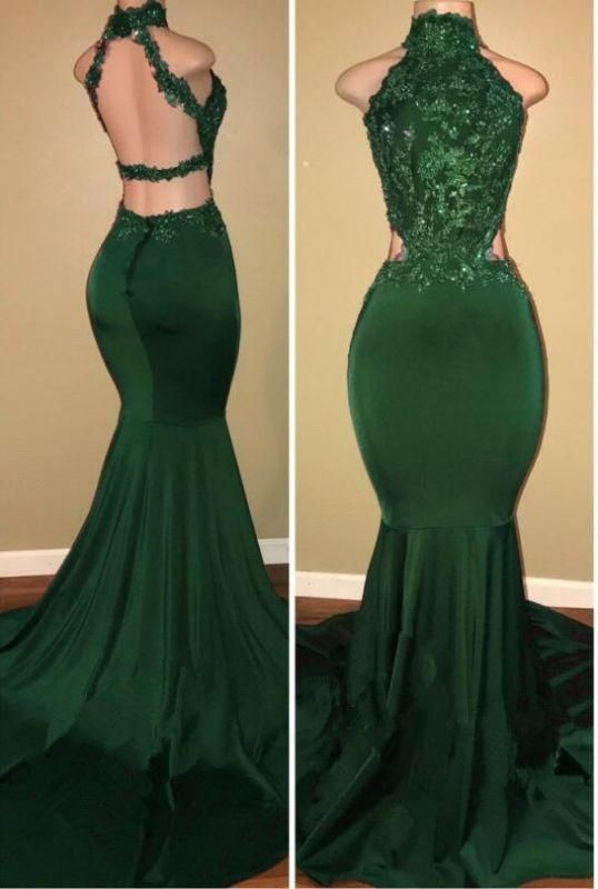 sexy formal dresses long mermaid green lace appliqué high neck beaded women
