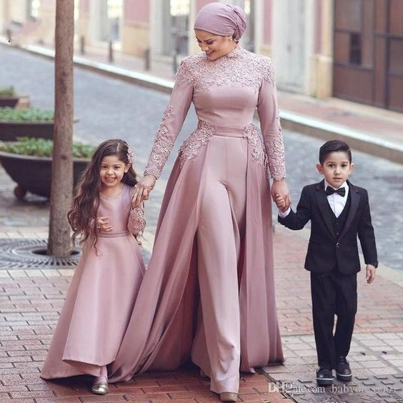 mother and daughter matching dresses 2020 dusty pink lace prom dresses kids