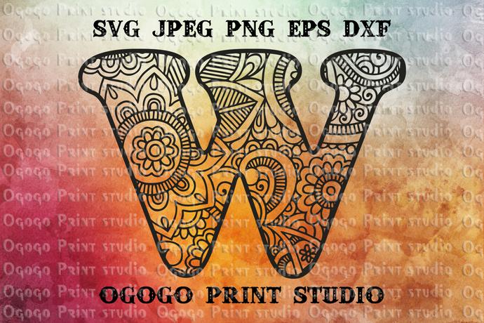 Alphabet Letter W SVG, Initial svg, Zentangle SVG, Mandala svg, Paper cutting,
