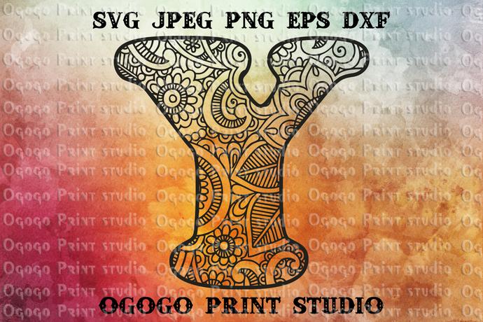 Alphabet Letter Y SVG, Initial svg, Zentangle SVG, Mandala svg, Paper cutting,