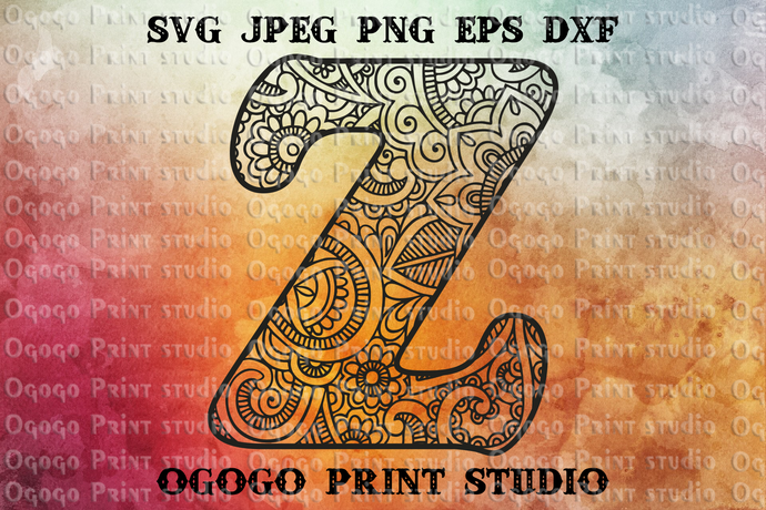 Alphabet Letter Z SVG, Initial svg, Zentangle SVG, Mandala svg, Paper cutting,