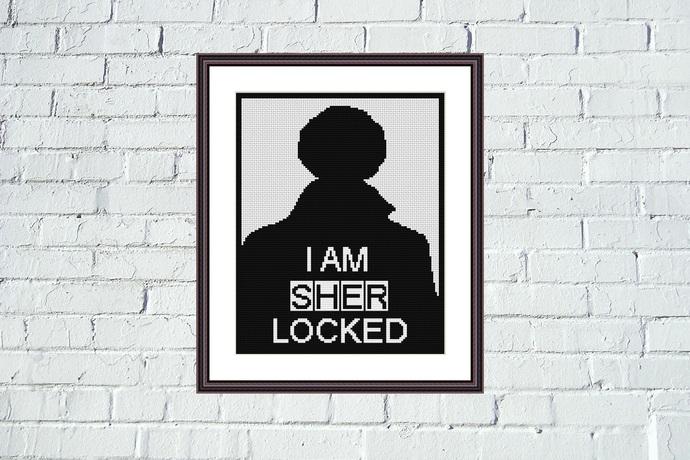 Sherlock black and white cross stitch pattern