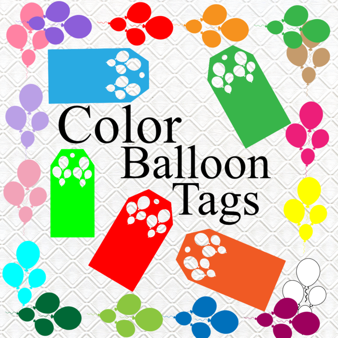 Color Balloon Tags-Digital Clipart-Art Clip-Gift Cards-Banner-Gift Tag-Jewelry-T
